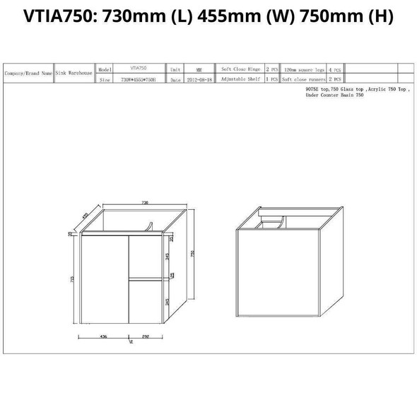 Tia - Floor Mounted Vanity and Top 750mm