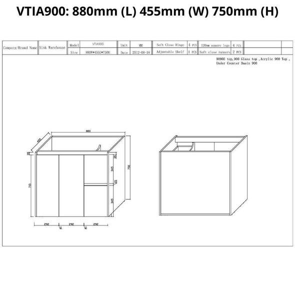 Tia - Floor Mounted Vanity and Top 900mm