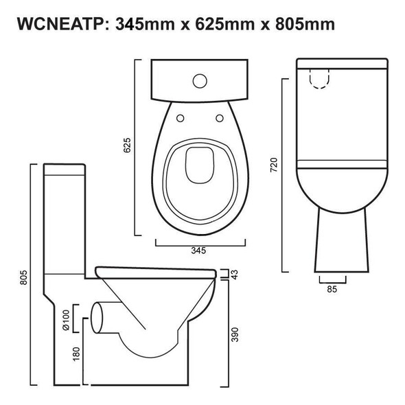 Neat - Close Coupled Toilet P-Trap