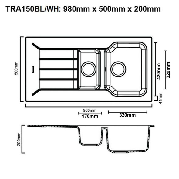 Traviata 150 - Granite Sink
