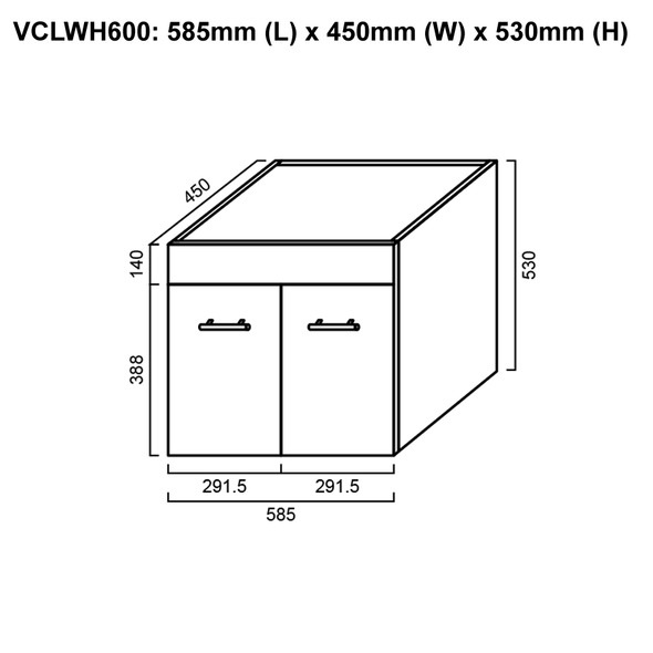 Classic - Wall Hung Vanity Only 600mm