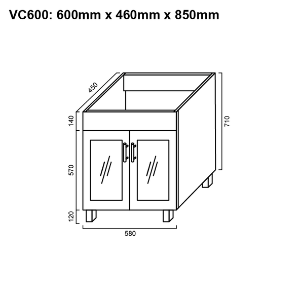 Cube - Vanity Only 600mm