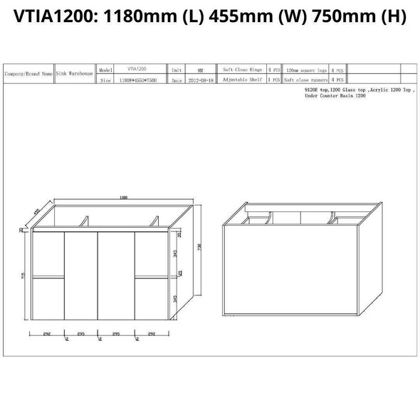 Tia - Vanity Only 1200mm