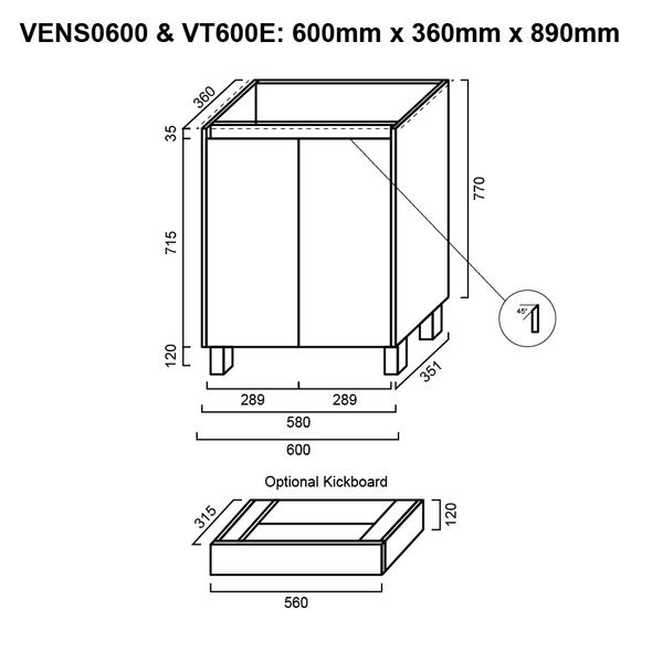 Ensuite - Vanity Only 600mm