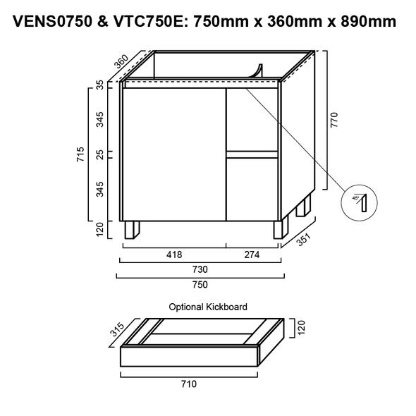 Ensuite - Vanity Only 750mm