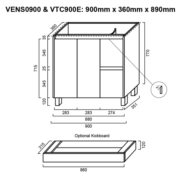 Ensuite - Vanity Only 900mm