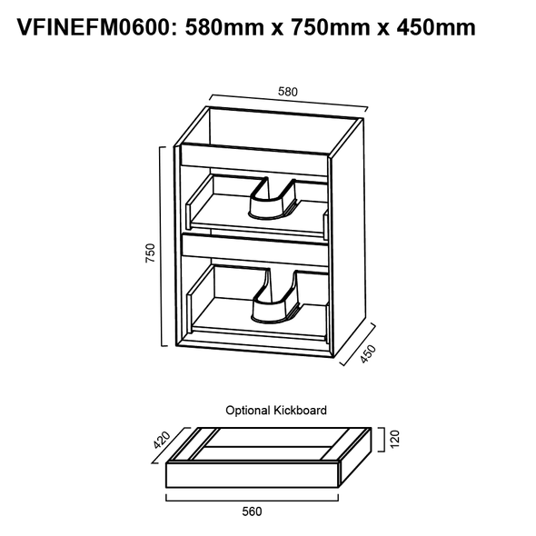 Fineline - Floor Mounted Vanity and Top 600mm