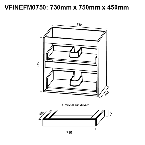 Fineline - Floor Mounted Vanity and Top 750mm