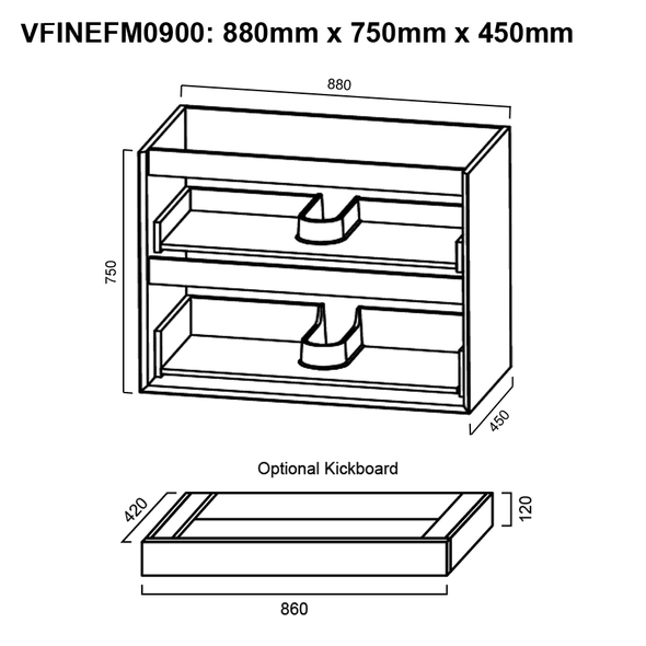 Fineline - Floor Mounted Vanity and Top 900mm