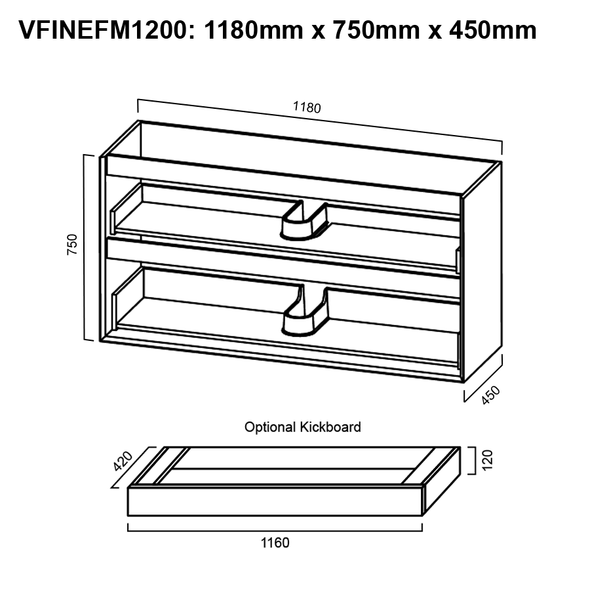 Fineline - Floor Mounted Vanity and Top 1200mm