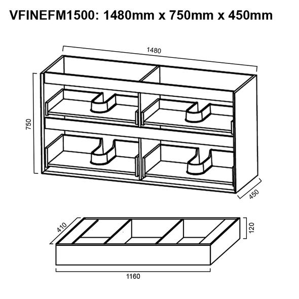 Fineline - Floor Mounted Vanity and Top 1500mm