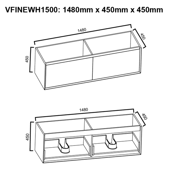 Fineline - Wall Hung Vanity and Top 1500mm