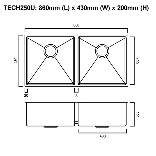 Tech 250U - Stainless Steel Undermount Sink
