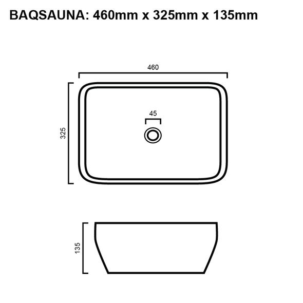 Sauna - Matte Black and White Above Counter Basin