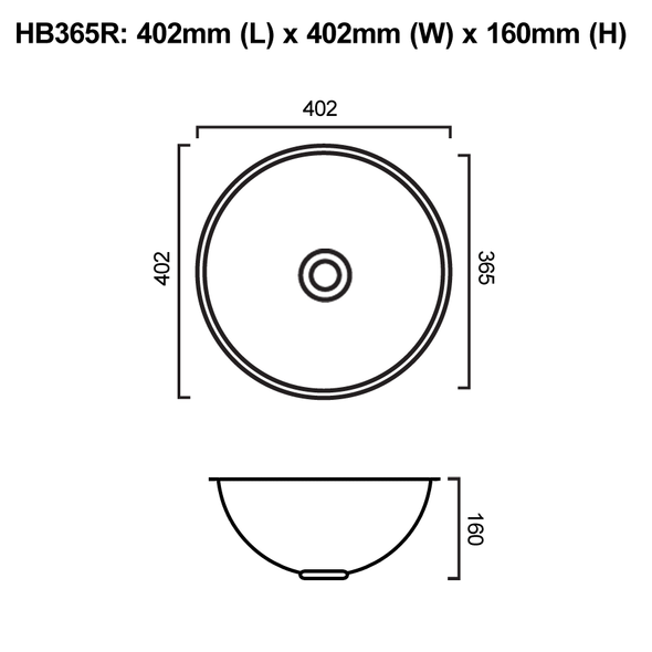HB365R - Round Stainless Steel Hand Basin