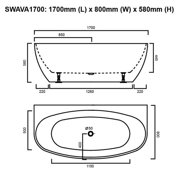 Ava - Black Freestanding Bath 1700mm