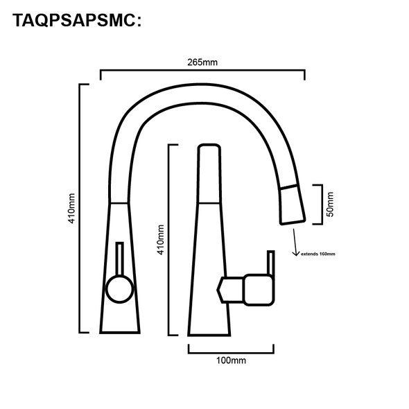 Sapphire - Gun Metal Pullout Sink Mixer