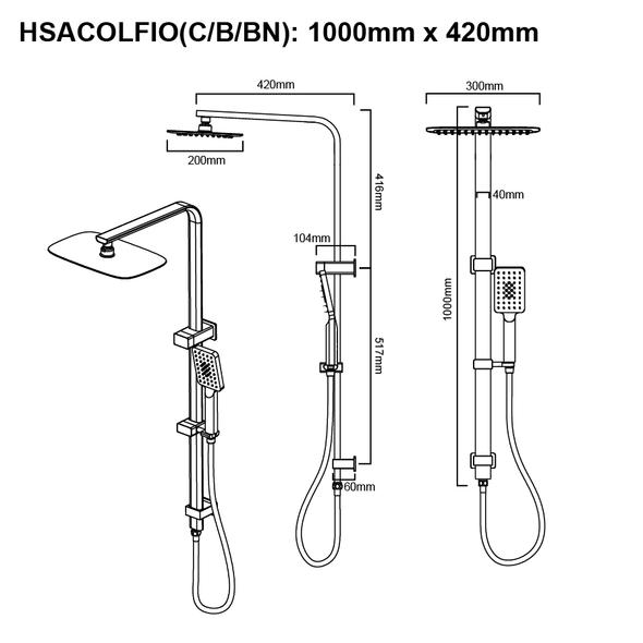 Topaz - Black Shower Column Combo Set