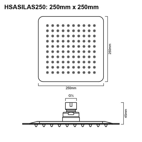 Silas - Gun Metal Stainless Steel Shower Head 250mm