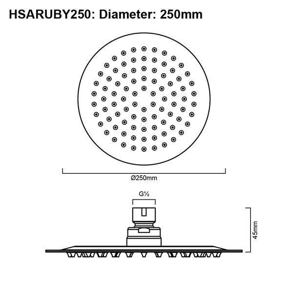 Ruby - Brushed Nickel Stainless Steel Shower Head 250mm