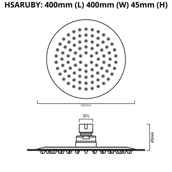Ruby - Chrome Stainless Steel Shower Head 400mm