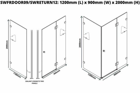 Frameless Shower Cubicle 1200mm