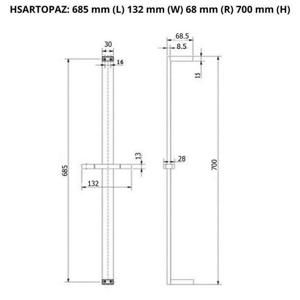 Topaz - Gun Metal Shower Rail