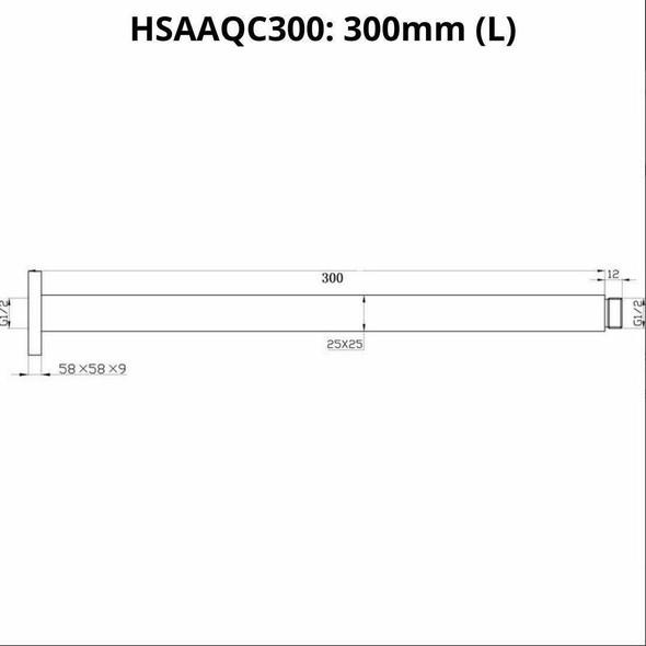 Quadro - Gun Metal Ceiling Shower Arm 300mm