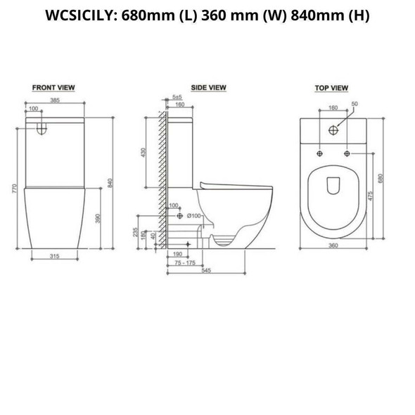 Sicily - Rimless Nano Glaze Toilet Suite