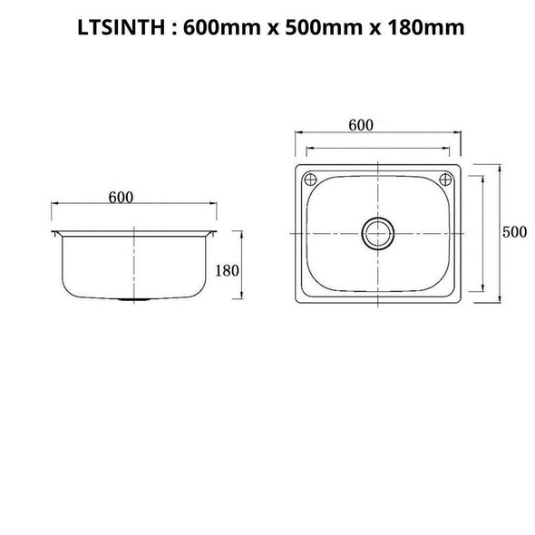 Lifestyle - Inset Laundry Trough 45L No Taphole
