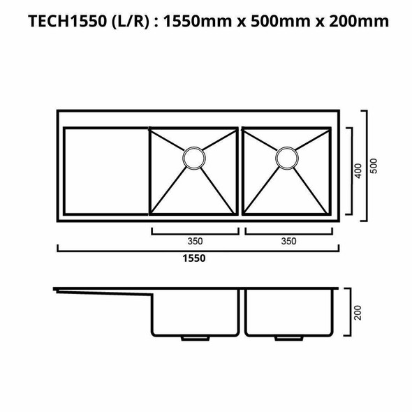 Tech 1550 - Stainless Steel Inset Sink