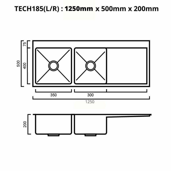 Tech 185 - Stainless Steel Inset Sink