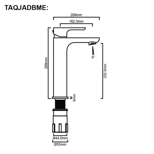 Jade - Black Extended Basin Mixer