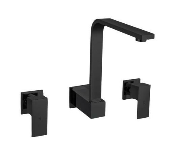 Square - Black Wall Sink Tap Set