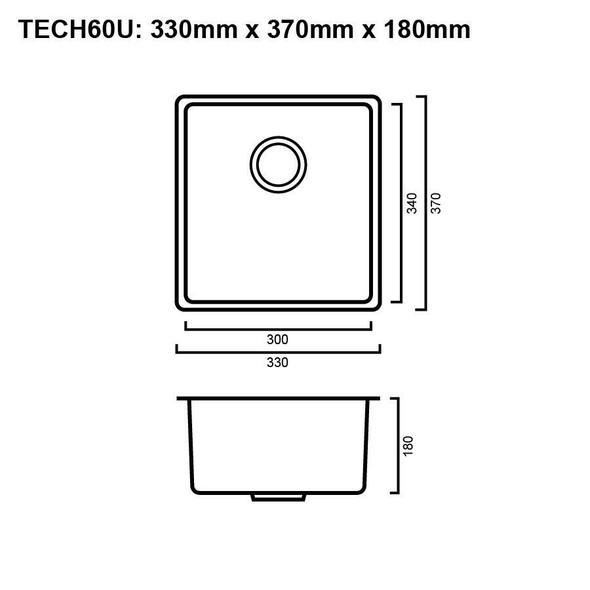 Tech 60U - Gun Metal Undermount Sink