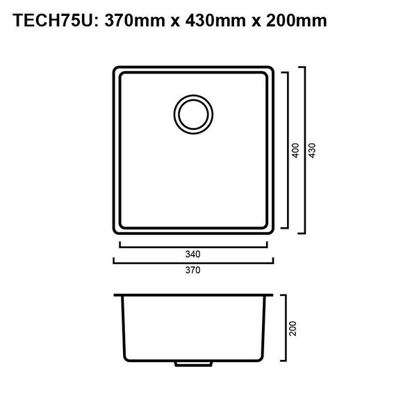 Tech 75U - Gun Metal Undermount Sink