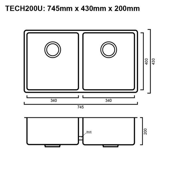 Tech 200U - Gun Metal Undermount Sink