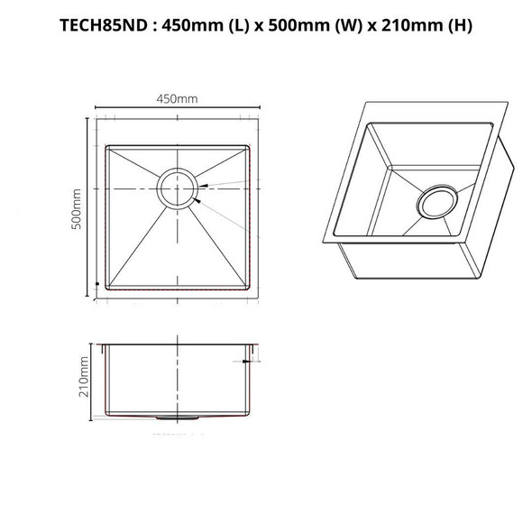 Tech 85 - Stainless Steel Inset Sink No Drainer