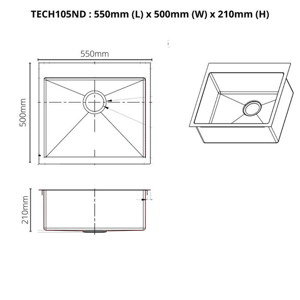 Tech 105 - Stainless Steel Inset Sink No Drainer