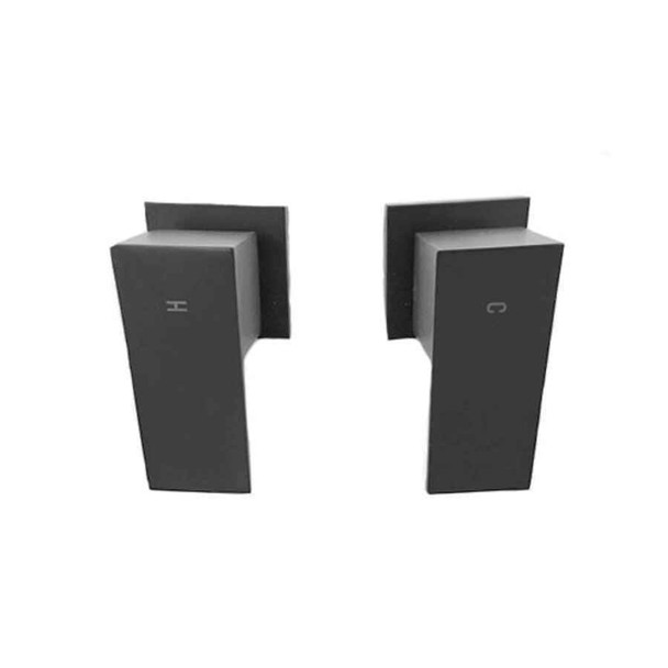 Square - Black Wall Tap Set