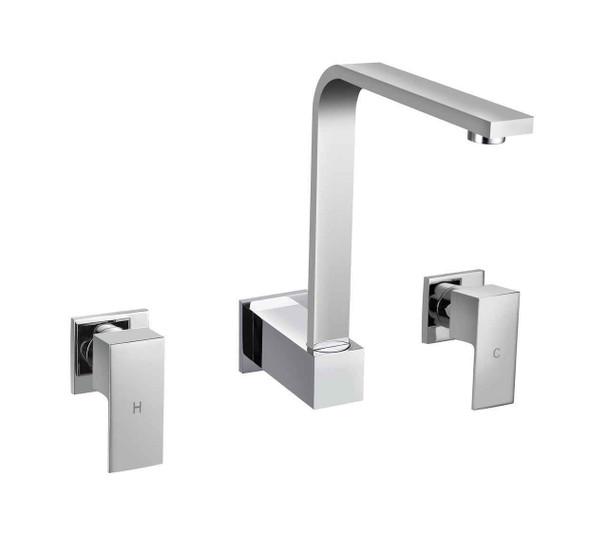 Square - Chrome Wall Sink Tap Set