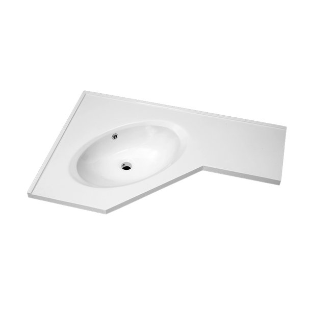 Corner Polymarble Vanity Top Single Bowl / 600mm x 900mm