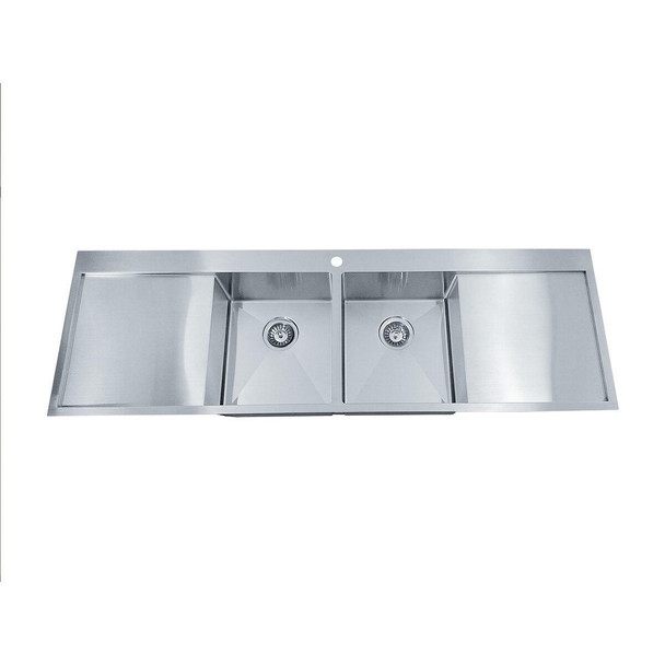 Tech 1550 - Double Centre Bowl Stainless Steel Inset Sink