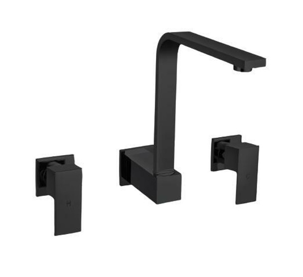 Square - Black Wall Sink Tap Set