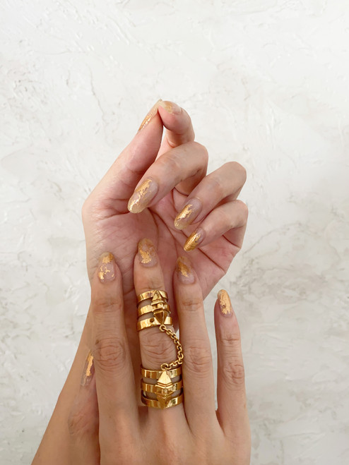 Glossy Up Gold Leaf in Clear Nail Wraps