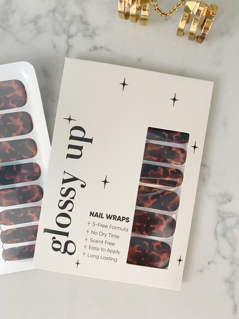 Glossy Up You Nail Wraps Non Toxic & Stylish Nail Wraps for the Woman on the Go | Tortoise Shell