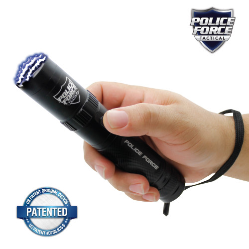 Police Force 9,200,000 Tactical Stun Flashlight in hand