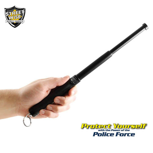 "Police Force12"" Expandable Steel Baton w/ Key Ring in hand"