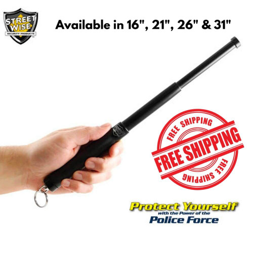 "Police Force12"" Expandable Steel Baton w/ Key Ring in hand All Sizes"