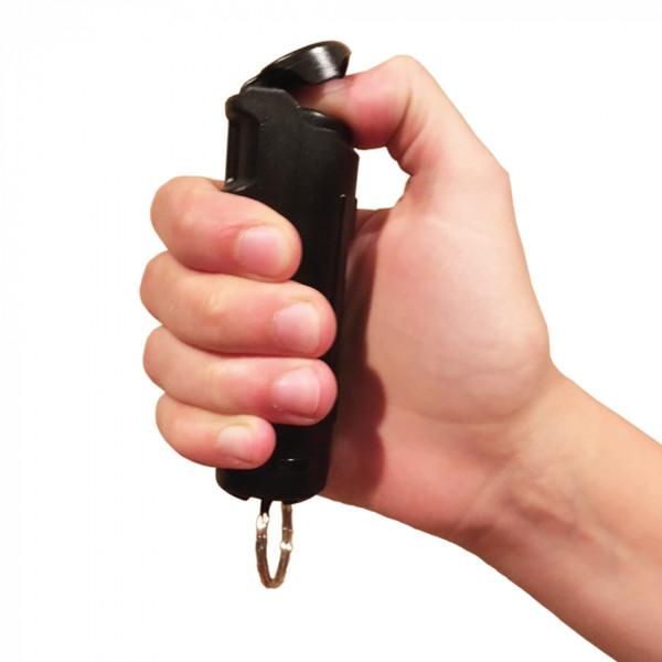 Police Strength 23 Pepper Spray 1/2 oz Flip Top  BLACK IN HAND